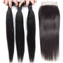 Straight Hair Bundles With Closure 30 Inch Brazilian Hair Weave 3 Bundles With Closure Non Remy Human Hair Bundles With Closure(China)