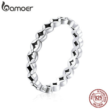 Bamoer Authentic 925 Sterling Silver Chinese Coins Stackable Finger Rings For Women Korean Style Fashion Jewelry Anel SCR648