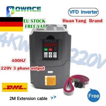 [Ab/RU teslimat] 4KW 220V veya 380V VFD değişken frekanslı mekanizma invertör 4HP 18A hız kontrol ve 2M uzatma kablosu