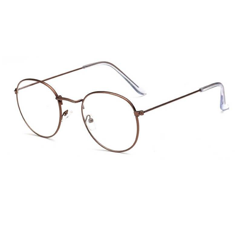 Mode lunettes rondes cadre femmes cadre en métal classique myopie lunettes optiques rétro clair ordinateur lunettes bleu lumière lunettes