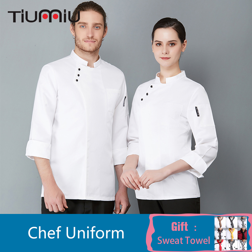 High Quality Long Sleeve Chef Waiter Uniform Pure Color Kitchen Cooking Chef Jacket Coat Hotel Cafe Bakery Barber Shop Overalls