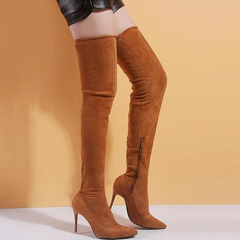 Zip Boots Women High Boots Slim Over-The-Knee Boots Laides Sexy High-Heeled Thigh High Boots Suede Autumn Shoes Women