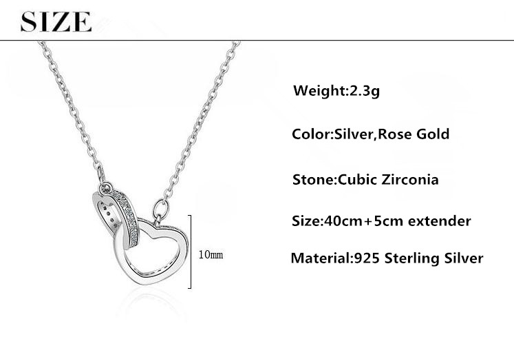 Romantic Double Love Heart Shine Cubic Zirconia Women Birthday Gift 925 Sterling Silver Lady Pendant Necklaces Jewelry Chains in Pendant Necklaces from Jewelry Accessories