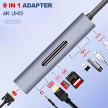 9 в 1 Thunderbolt 3 док-станция USB C концентратор type-c к HDMI+ VGA с аудио hd-конвертер адаптер для Macbook samsung S8 USB C