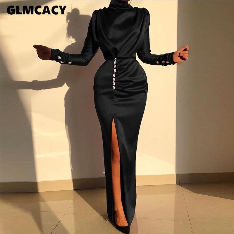 Women Sexy Splits Long Sleeve Maxi Dress High Neck Ruched Thigh Slit Evening Gown Dress Satin Evening Party Dresses