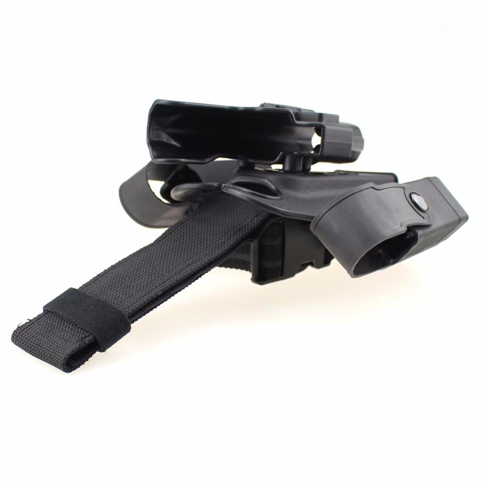 Tactique jambe pistolet Holsters titulaire pagaie goutte cuisse pistolet étui à main droite bouton pression Magazine torche poche pour Glock 17 19 22 - 6