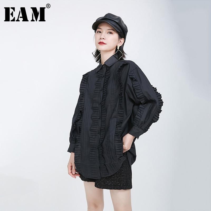 [EAM] Women Black Pleated Ruffles Split Joint Big Size Blouse New Lapel Long Sleeve Loose Shirt Fashion Spring Summer 2020 1Y599