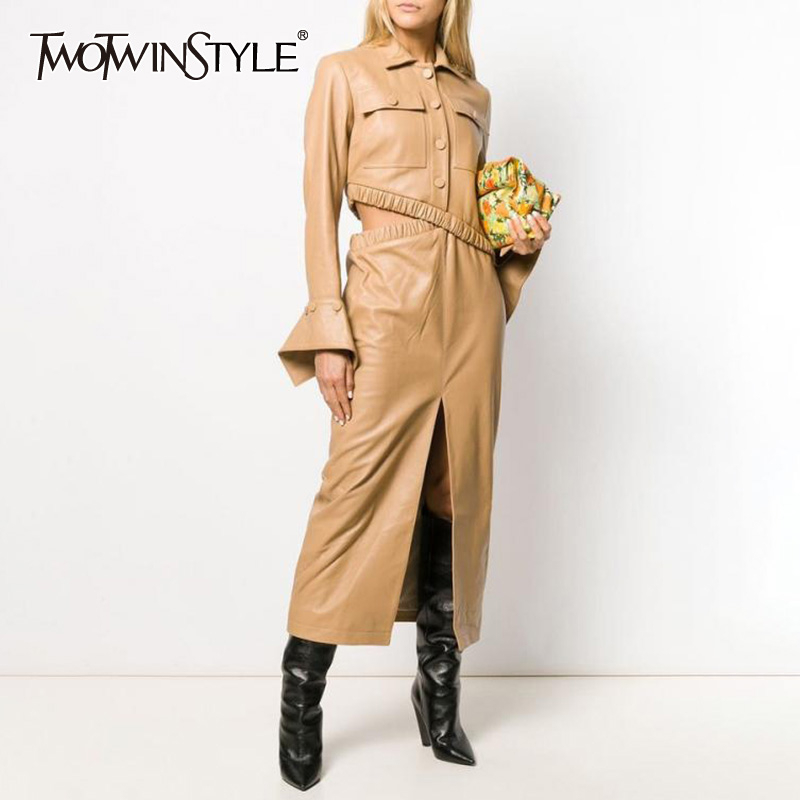 TWOTWINSTYLE PU Leather Two Piece Set For Women Asymmetrical Flare Sleeves Coats Split High Waist Skirts Female Suits 2020 New