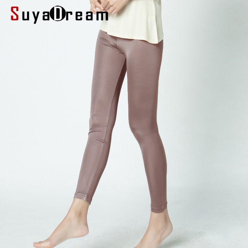 SILK women long Leggings Solid slim leggings Full length Plus size Anti emptied bottoming pants 100%REAL SILK NEW Basic