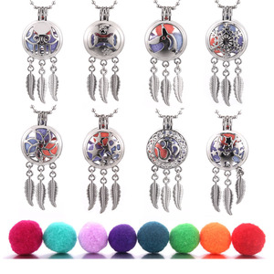 New Dreamcatcher Feather Aroma Locket Pendant Perfume Essential Oil Aromatherapy Diffuser Necklace Locket Necklace With Ball(China)
