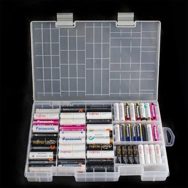 סופר נפח שקוף פלסטיק סוללה אחסון תיבת עבור ממוקם 100pcs AAA AA סוללה מחזיק מיכל coverd גימור ערכת תיבה