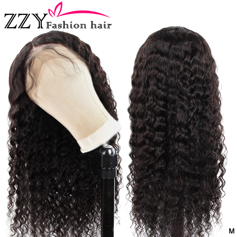 ZZY Fashion 13x4 Lace Front Human Hair Wigs 150% Density Brazilian Deep Wave Lace Front Wig PrePlucked With Baby Hair Non-remy
