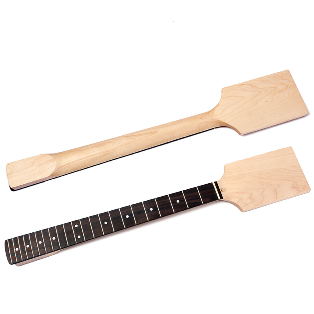 Unfinished Guitar Neck Maple Paddle Headstock 22 Fret for Electric Guitar Neck Replacement Black Dot DIY Unfinished Guitar Parts