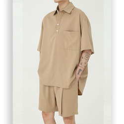 Мужские летние костюмы из 2 предметов, Свободный пуловер с коротким рукавом и шорты, уличная одежда в японском и корейском стиле, футболки и ...