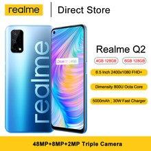 Realme için Q2 5G cep telefonu 6.5 ''FHD + MTK Dimensity 800U Octa çekirdek 48MP üçlü gerçek kameralar 5000mAh Android 10.0 Smartphone