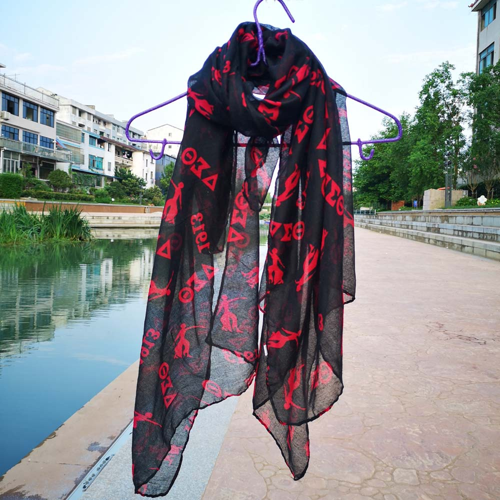 Red Black  DST Delta Sigma Theta Letter 1913 Long Scarf Shawl