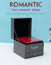 Купить с кэшбэком DIy Double Layer with Eternal Red Rose Gift Box Handmade Love Wedding Gift Box Jewelry Necklace Pendant Box Jewelry Storage Box