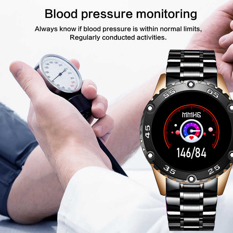 LIGE ساعة ذكية الرجال IP68 مقاوم للماء ساعة رياضية دعوة تذكير إنذار تذكير معدل ضربات القلب Smartwatch لهواوي شاومي IOS الهاتف