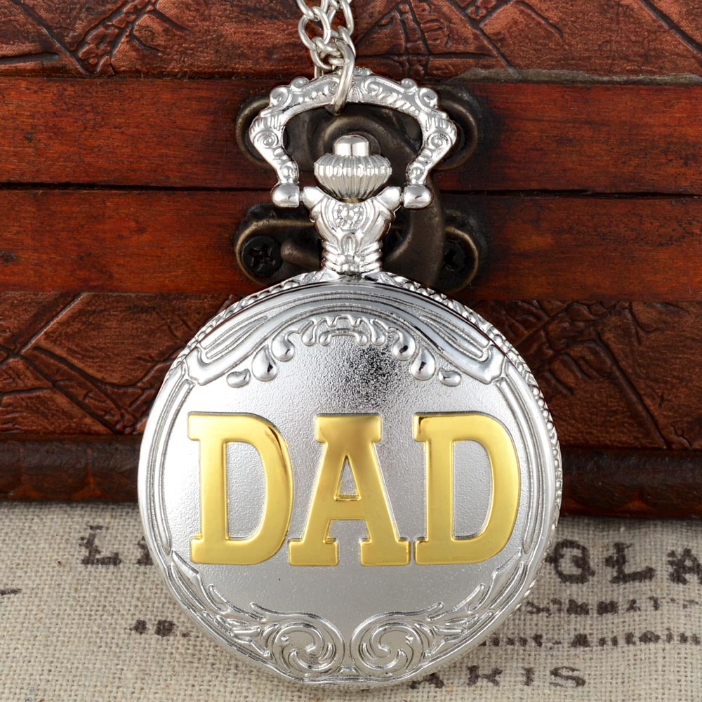 Classic Fashion Silver Gold DAD Quartz Pocket Watch With Chain Retro Men Women Classic Pendant Necklace Clock Father Gift