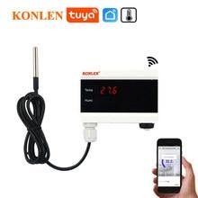 Tuya wi fi sensor de temperatura termômetro detector vida inteligente app alerta casa controle do termostato alarme monitor remoto freezer teste