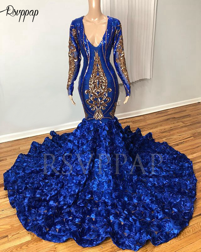 Royal Blue Long Prom Dresses 2020 Real Pictures Sexy V-neck Gold Sequin 3D Flowers Long Sleeve Mermaid Prom Dress