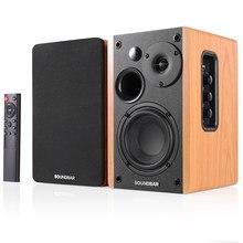 Altavoz de alta fidelidad, estantería con Bluetooth, sistema de sonido, altavoces de música de madera para TV, ordenador, barra de sonido de 2,0 pulgadas, USB, 80W, 4,5