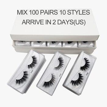 LANJINGLIN 20/30/50/100 pairs bulk faux mink lashes 3d fluffy false eyelash extension natural long wholesale eyelashes 3d makeup