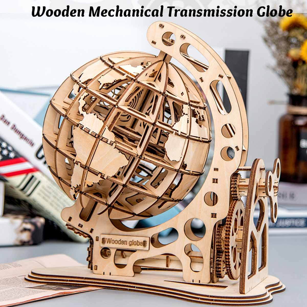 3D Puzzle Wooden Pendulum Globe Model Ornaments Assemble Toys Learning Model Toys Gifts Decoration For Children