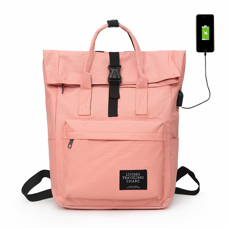 New Women External USB Charge Backpack Canvas Rucksack Male Large Capacity Girls Laptop Shoulder School Bags Backpacks For Teens