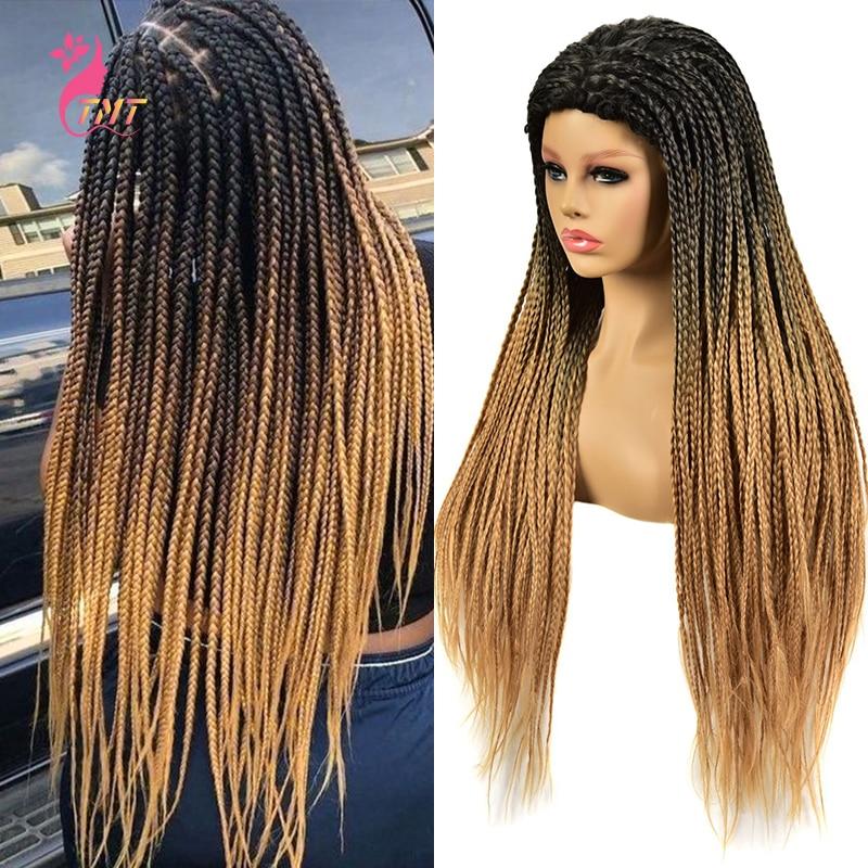 TMT Long Straight Synthetic Box Braided Braids Wigs 26'' High Quality Synthetic Twist Braids Wigs For Afro Black Women