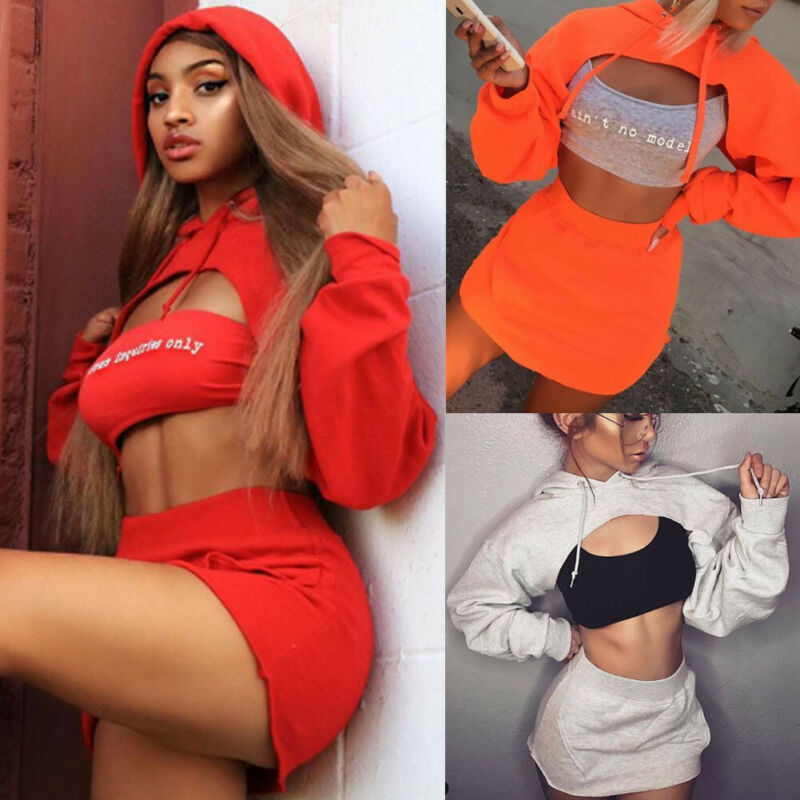 Free Shipping Women's Sexy 2 Piece Outfits Long Sleeve Hooded Crop Top and Bodycon Mini Skirt Dress Sets 2019 Fashion New