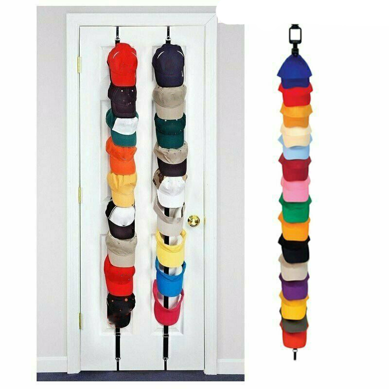 8Pcs Adjustable Cap Organizer Door Back Storage Hanging Strip Door Cap Rack Baseball Cap Holder Organizer Closet Hanger