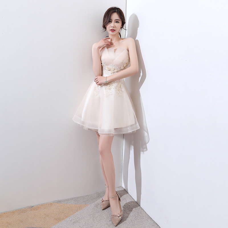 2020 Baptism Gown Of The New 2020 Autumn Winter Brief Paragraph Dress Women Sexy Show Thin Bridesmaid Dresses That Wipe A Bosom