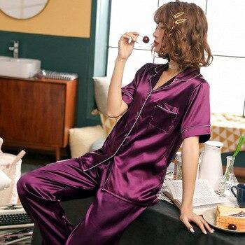 Women Pajamas Set Sleepwear Winter Long Sleeve Mujer Pijamas Nuisette Sexy Lingerie Nightwear Silk Satin Pyjamas pjs Suit 2Pcs 31