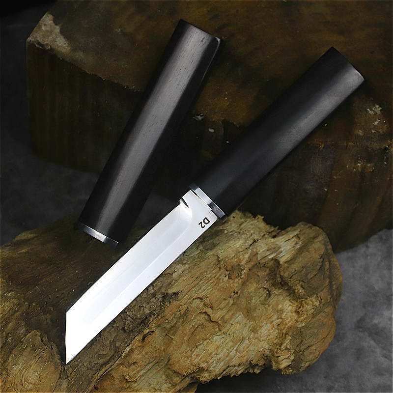 Tools : Ebony Japanese samurai sharp D2 steel straight knife camping straight knife jungle hunting tactical knife collection knife