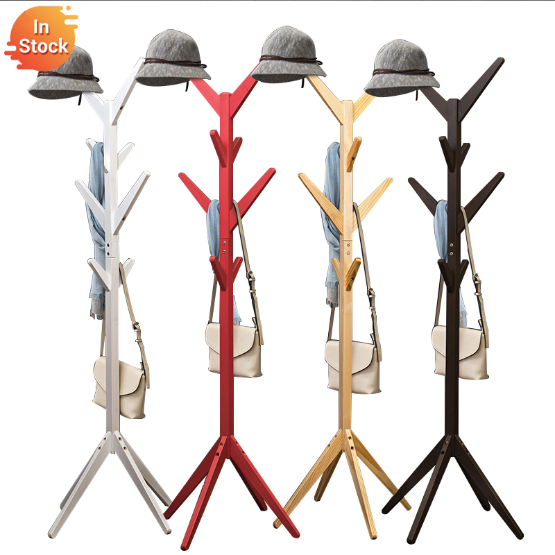 Solid Wood Coat Rack Floor Tree Shaped Hanger No Tool Required Assembled Bedroom Household Clothes Bag Storage Minimalist Modern