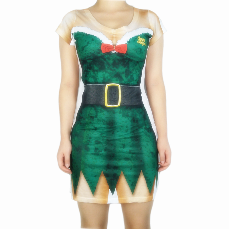 Sexy Elf Printed Christmas Costumes for Women Cute Womens Dresses Hot Girls Holiday Party Dress Plus Size