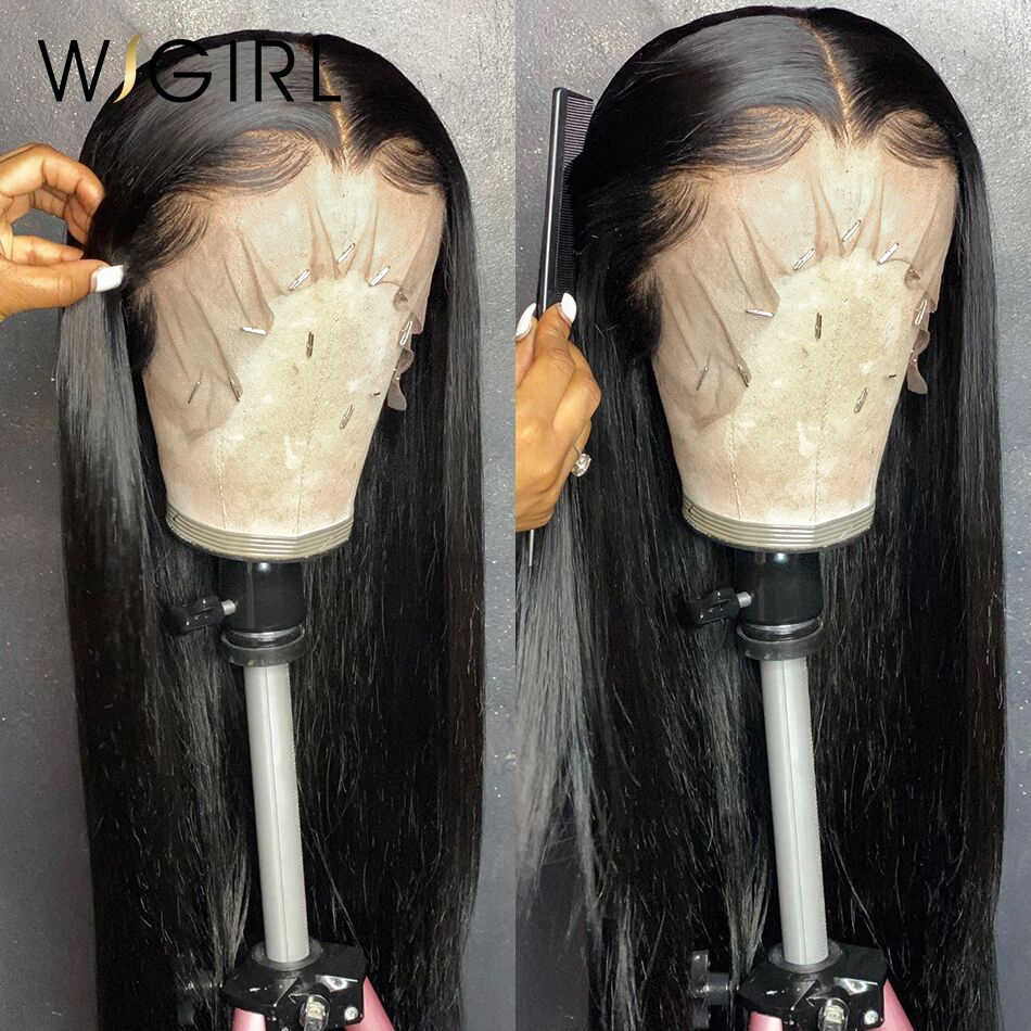 Wigirl 28 30 polegada 13x4 frente do laço perucas de cabelo humano pré arrancado osso brasileiro em linha reta peruca frontal do laço peruca bob para preto