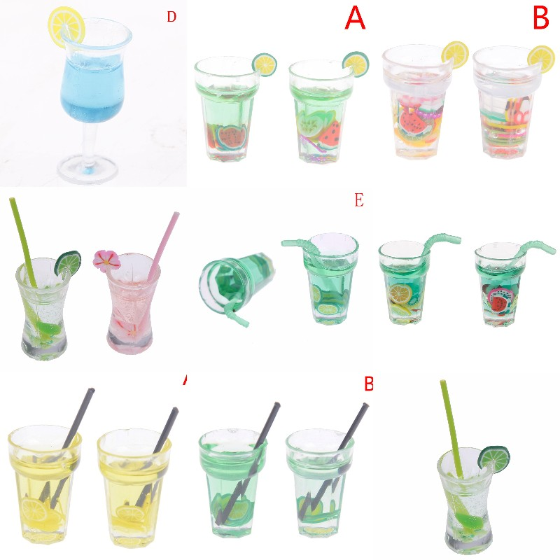 1/12 Dollhouse Miniature Food Mini Resin Fruit Bottle Simulation Drinks Model Toys Fruit Drink Play Lemon Cup