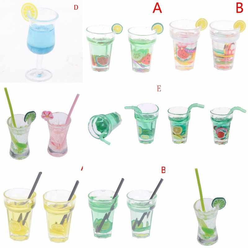 1/12 Dollhouse miniaturowe jedzenie Mini żywica butelka na owoce symulacja napoje zabawki modele napój owocowy zagraj w Lemon Cup