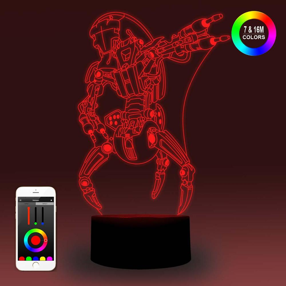 NiteApps 3D Star Wars Droideka Destroyer Droid Night Light Desk Table Illusion Lamp Holiday Birthday Gift APP/Touch Control