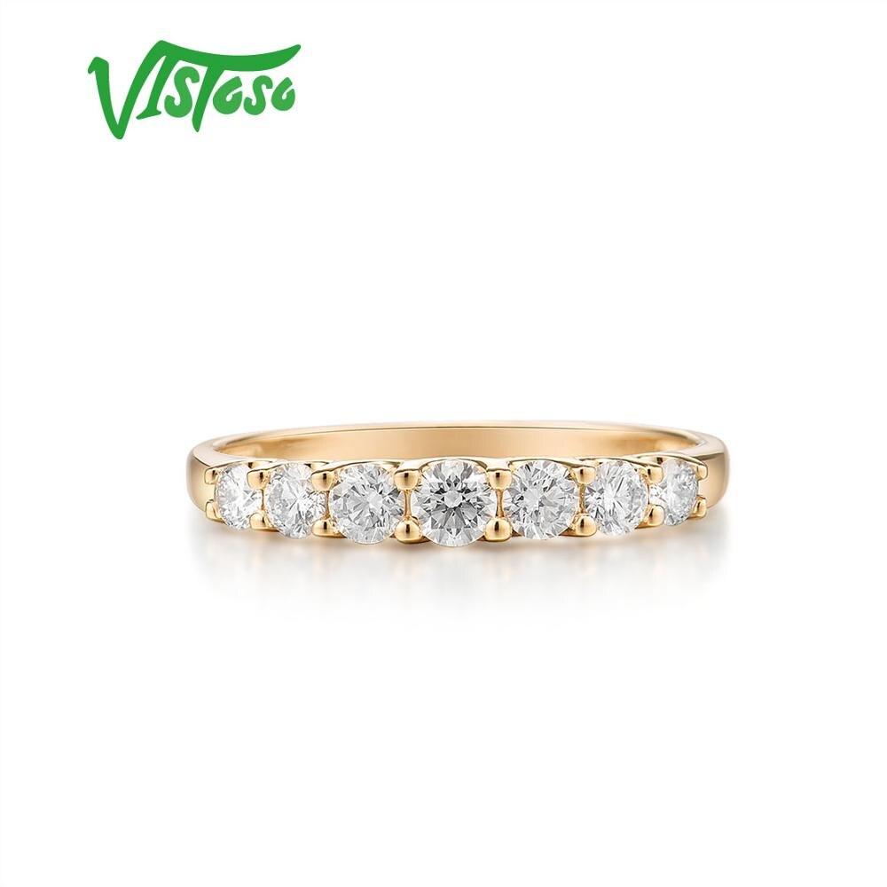VISTOSO pur 14K 585 bague en or jaune pour les femmes véritable étincelant diamant bague promesse bagues de fiançailles anniversaire beaux bijoux - 2