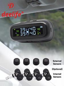 Deelife TPMS Tire Pressure Sensor Monitoring System Solar TMPS Display Alarm Car 4 Wheel External Internal Tyre Pressure Sensors