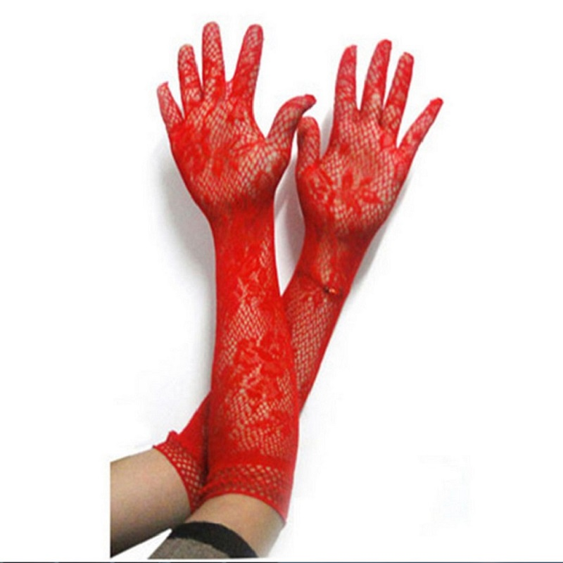 Elegant Women Ultra-thin Long Summer Driving Cycling Sexy Red Sunscreen Gloves Female Anti-UV Elasticity Lace Mesh Gloves