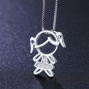 Image 3 - Newranos 925 Sterling Silver Pendant Necklace Zirconias Girl Boy Charm Pendant Family Necklace Fashion Women Jewelry NFL001684