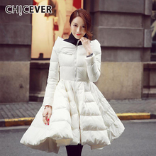 Cotton Coat CHICEVER Thick Women Plus-Size Patchwork for Stand-Collar Long-Sleeve Ruffles
