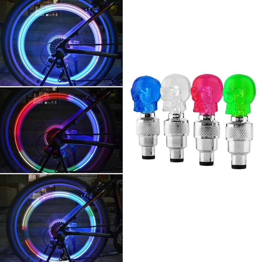 LED Bike Wheel Valve Cap SET Bicycle Tire Spoke Lamp Light Tyre Mountain Cycle