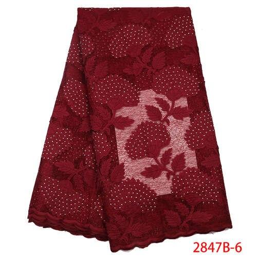Африканская кружевная ткань высокого качества кружева новая швейцарская вуаль кружева швейцарская добавить камни нигерийские кружева вуаль ткань YA2847B-3 - Цвет: Picture6