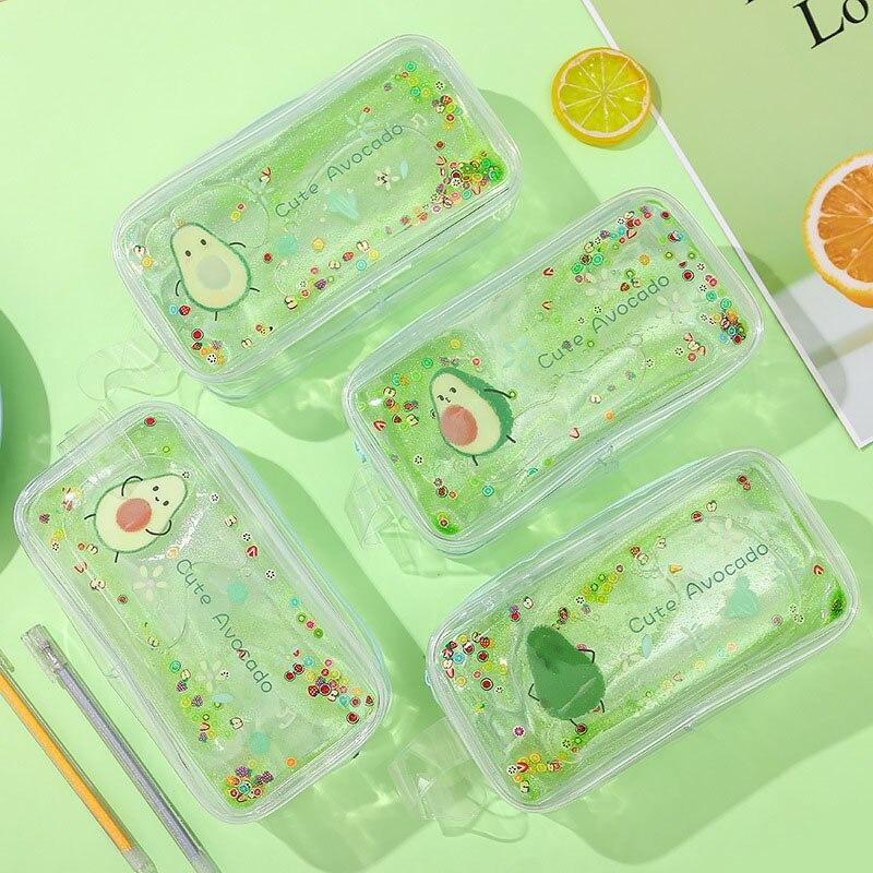 Kawaii Quicksand Avocado Pencil Case High Capacity Pencil Bag Transparent Glitter Pencilcase For Girls Pen Box School Supplies