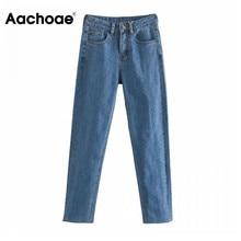 Mom Jeans Denim Trousers Aachoae Pockets Long-Pants Stretchy High-Waist Fashion Fly Zipper